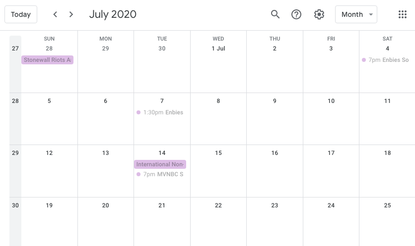 Screenshot of a Google Calendar with meeting dates