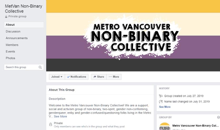Screenshot of a facebook group for the Metro Vancouver Non-Binary Collective